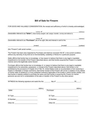 Bill Of Sale For Firearm Transactions | Va Gun Trader
